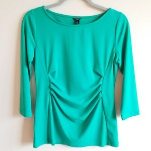 Ann Taylor MP Green Ruched Waist 3/4 Sleeve Top